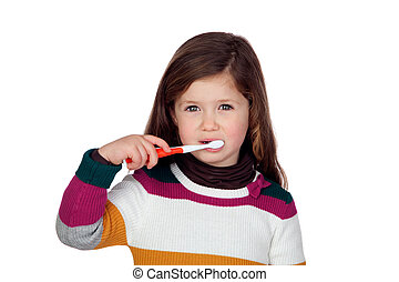 peu, jolie fille, brossant dents