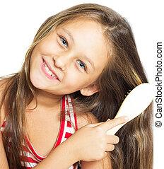 peu, jolie fille, elle, cheveux, isolé, sourire, brossage, b, blanc