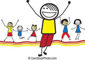 peu, jouer, ensemble., danse, tout petits enfants, heureux, autre, illustration, spectacles, company., children(kids)jumping, graphique, sourire, &, apprécier, chaque