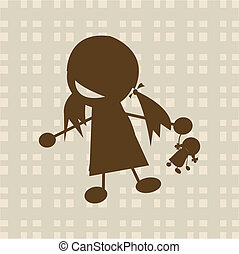 peu, jouer, girl, poupée