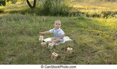 peu, jouer, parc, dés, enfant