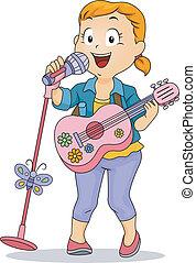 peu, jouet, exécuter, microphone, guitare, utilisation, girl, gosse