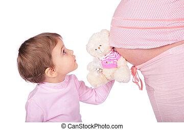 peu, jouet, girl, pregnant
