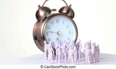 peu, jouet, sonner, horloge, uncolored, grand, hommes, stand, devant, femmes