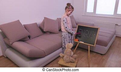 peu, jouet, tableau noir, enseignement, girl, lapin