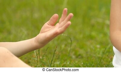 peu, lent, elle, motion., boy., haut, main, fin, girl, donne