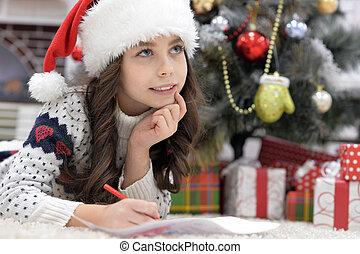 peu, lettre, plancher, écriture, santa, girl, chapeau, mensonge, heureux