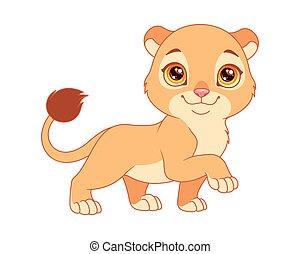 peu, lioness., dessin animé, illustration, vecteur