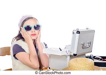 peu, lunettes soleil, joli, portrait, blanc, girl