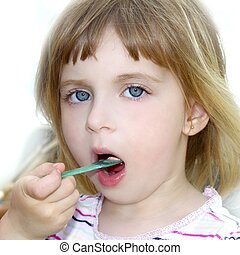 peu, manger, glace, blonds, portrait, girl, crème