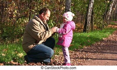 peu, moufle, parc, automne, personne agee, girl