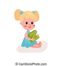 peu, n, lettre, coloré, plancher, doux, séance, jeu, illustration, dessin animé, vecteur, par, apprentissage, amusement, blond, jouer, girl, gosse