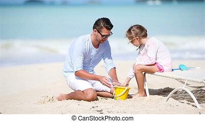 peu, père, exotique, sable, confection, girl, plage, château