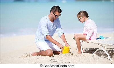 peu, père, exotique, sable, confection, plage château, gosse