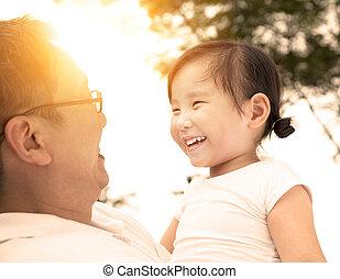 peu, père, girl, heureux
