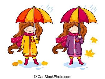 peu, parapluie, coloré, grande main, tricoté, dessiné, scarf., girl