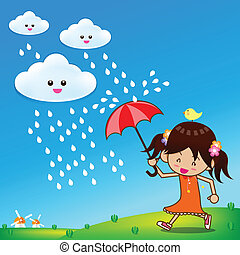 peu, parapluie, girl, pluie