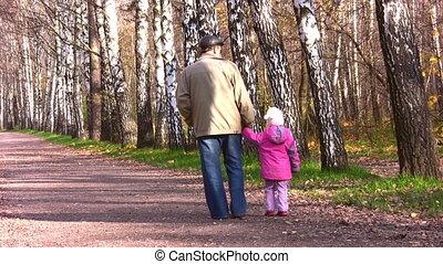 peu, parc, automne, derrière, personne agee, girl