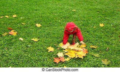 peu, parc, haut, automne, pousse feuilles, girl, jets