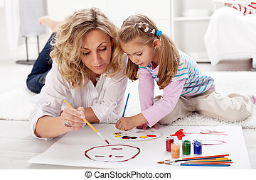 peu, peinture, girl, elle, mère