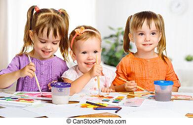 peu, peintures, filles, dessiner, jardin enfants, heureux