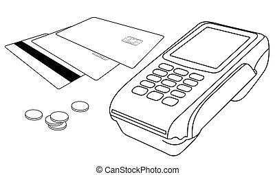 peu, pièces, terminal, pos, cartes crédit, grands traits