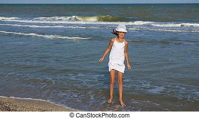 peu, plage., girl, heureux