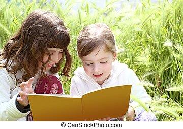 peu, pointes, jardin, filles, soeur, remorquage, livre, lecture
