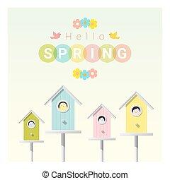 peu, printemps, bonjour, 1, fond, birdhouses, oiseaux