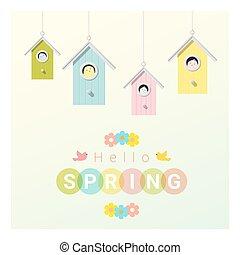 peu, printemps, bonjour, 2, fond, birdhouses, oiseaux