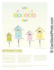 peu, printemps, bonjour, 3, fond, birdhouses, oiseaux