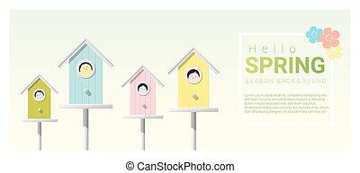 peu, printemps, bonjour, 5, fond, birdhouses, oiseaux
