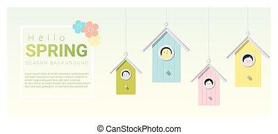 peu, printemps, bonjour, fond, 6, birdhouses, oiseaux