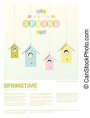 peu, printemps, bonjour, fond, birdhouses, oiseaux