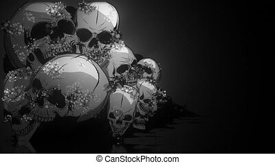 peu profond, humain, profondeur, os, crânes, champ, crossbones., crâne