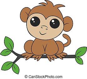 peu, séance, singe, mignon, branche