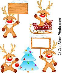 peu, separately, groupé, reindeer., quatre