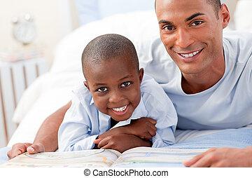peu, sien, lecture, père, garçon