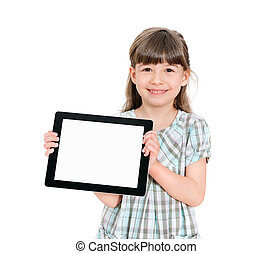peu, tablette, tenue, vide, girl, heureux