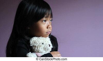 peu, teddy, étreindre, triste, ours, girl