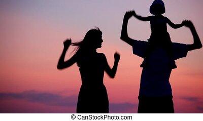 peu, tenue femme, danse, épaules, coucher soleil, fond, girl, homme