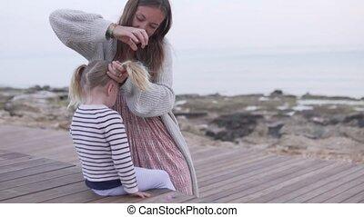 peu, tresses, cheveux, sea., maman, girl, plage