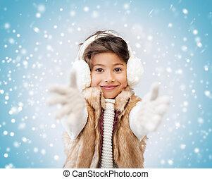 peu, vêtements, hiver, girl, heureux