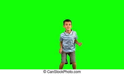 peu, vert, écran, sauter, garçon
