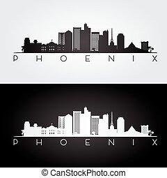 phénix, horizon, silhouette.