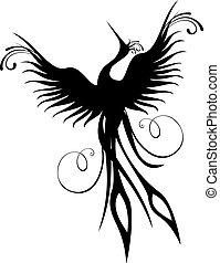 phénix, oiseau, figure, isolé