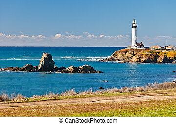 phare californie, côte, point pigeon