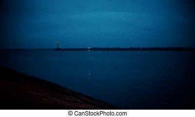 phare, clignotant, nuit