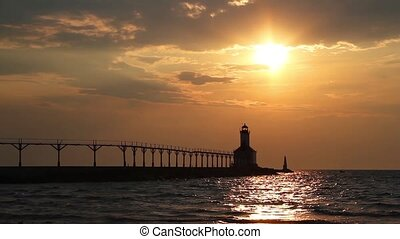 phare, coucher soleil, boucle