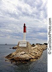 phare, entrée, bandol, port